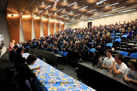 Students attend a Brain Bee challenge lecture
