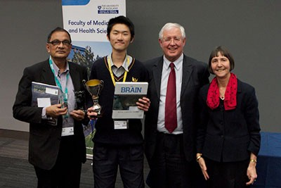 Last year Jiantao Shen took the North Island Brain Bee Challenge (NIBB) held at FMHS. He is pictured then with his trophy and left to right: Mt Roskill Grammar science teacher, Mr Abhai Dass, Jiantao, Director CBR, Professor Richard Faull and NIBB organiser, Professor Louise Nicholson.
