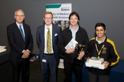 From left: Vice Chancellor Professor Stuart McCutcheon, Brain Bee organiser Dr Maurice Curtis, teacher Andrew Parkin and 2014 North Island Brain Bee champion Nicholas Kondal