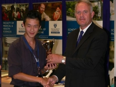 Vice Chancellor Stuart McCutcheon with William Zhang, Auckland Grammar School