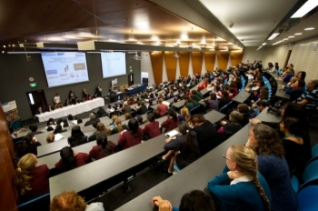 Students attend the Brain Bee competition inside one of the lecture rooms